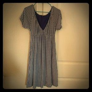 GAP white and blue polka dot short sleeve dress